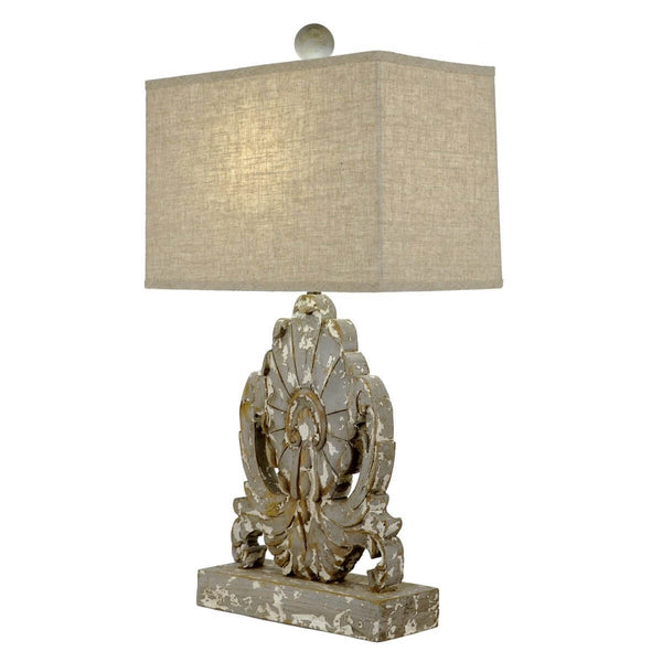 Lillian Home Thalia Carved Wood Table Lamp