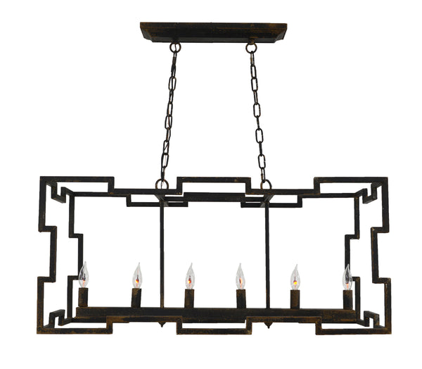Aura 4 Light Black Island Pendant- Lillian Home