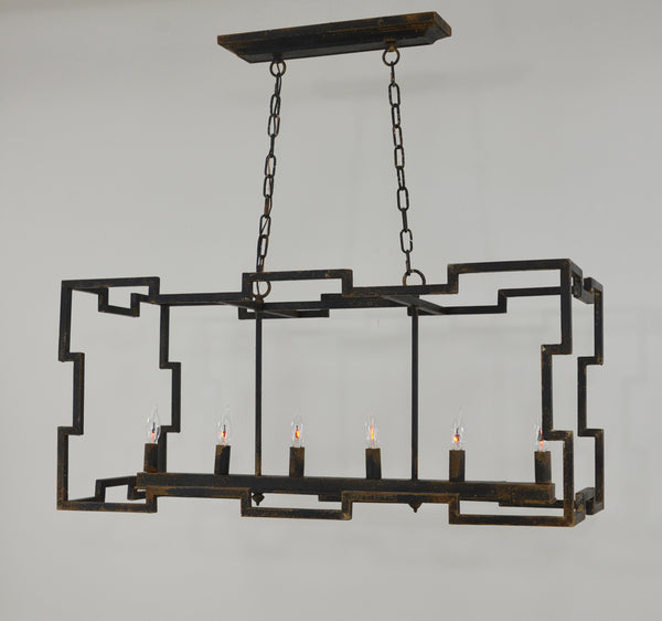 Aura 6 Light Black Rectangular Light Fixture