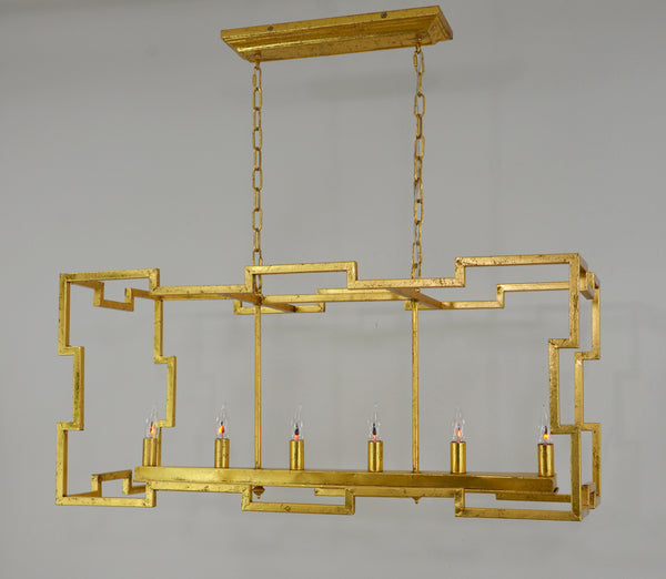 Aura 6 Light Gold Rectangular Light Fixture