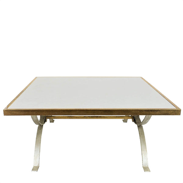 Tania Silver & Gold Stone Top Square Coffee Table - Lillian Home