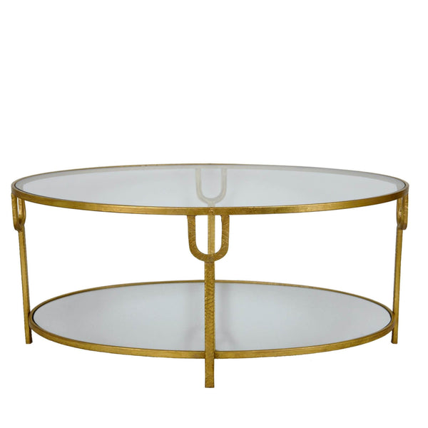 Blanca Oval Gold Coffee Table - Lillian Home