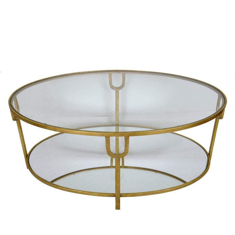 Blanca Gold Leaf Open Coffee Table with 2 Shelves
