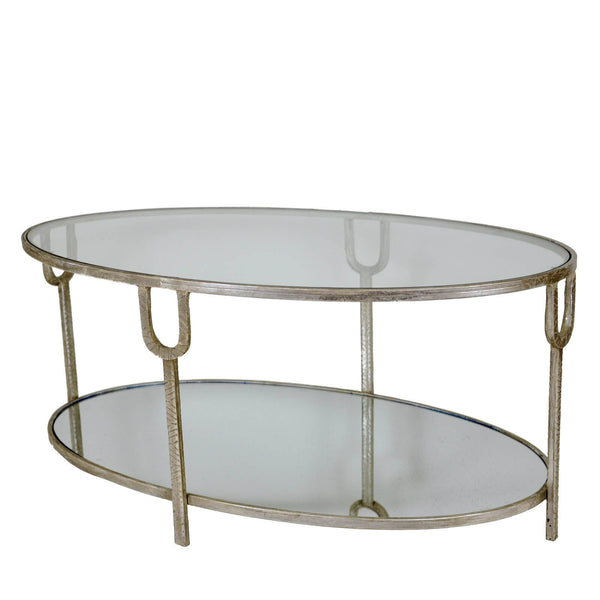 Blanca Silver Oval Coffee Table - Lillian Home