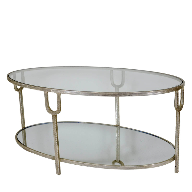 Blanca Silver Leaf Open Coffee Table with 2 Shelves