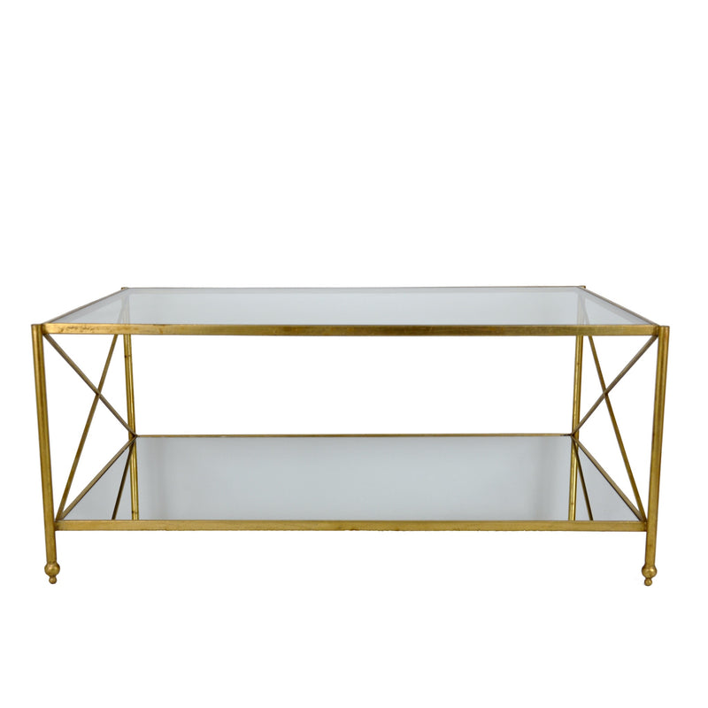 Iris Gold Leaf 2 Shelves Coffee Table