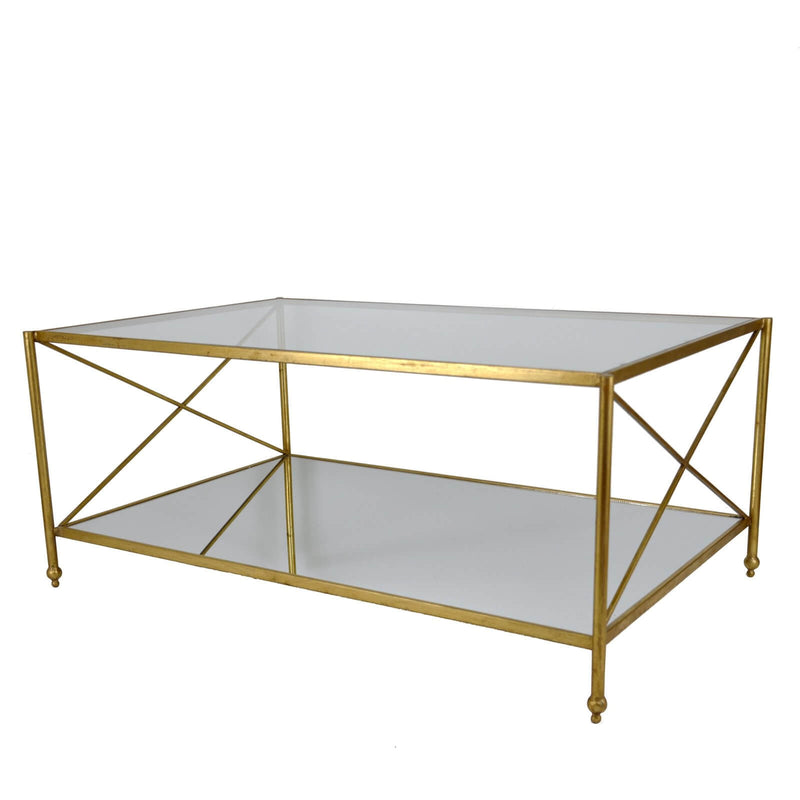 Iris Gold Leaf 2 Shelves Coffee Table - Lillian Home