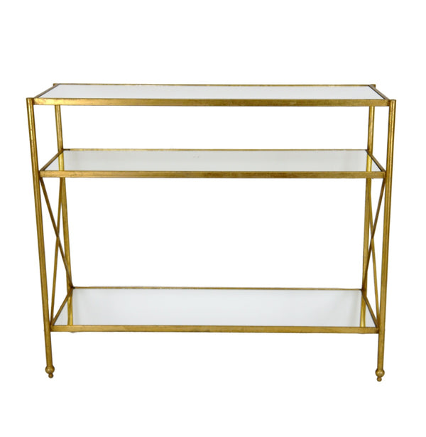 Alan Gold Leaf Iron Console Table with 3 Shelves - Furniture Alan