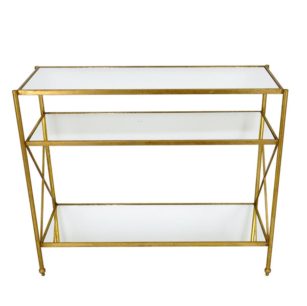 Alan Gold Leaf Open Console Table with 3 Shelves