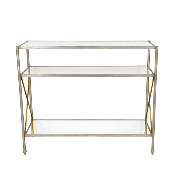 Alan Silver Leaf Iron Console Table - Furniture Alan-Silver Console Table with 3 Open Shelves