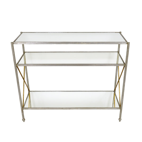 Alan Silver Leaf Open Console Table with 3 Shelves
