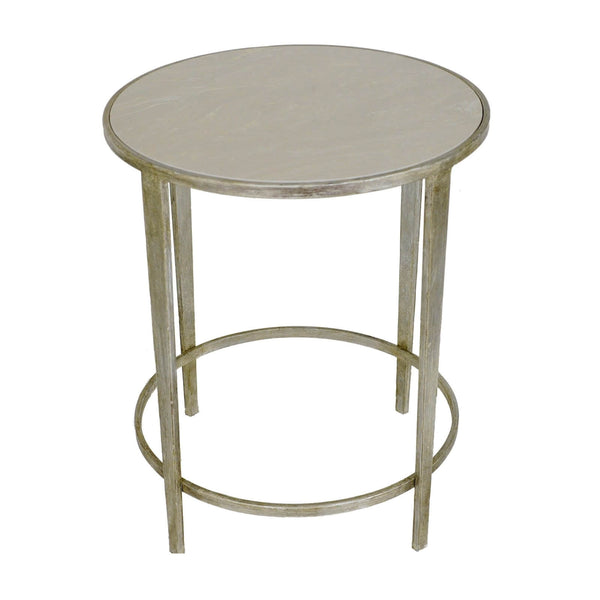 Dolly Silver Leaf Stone Top Round Side Table - Lillian Home