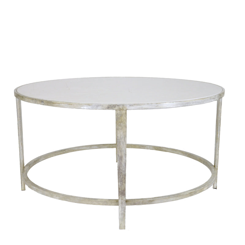 Augustine Silver Round Coffee Table - Lillian Home