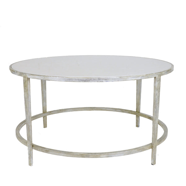 Augustine Stone Top Silver Leaf Round Coffee Table - Lillian Home