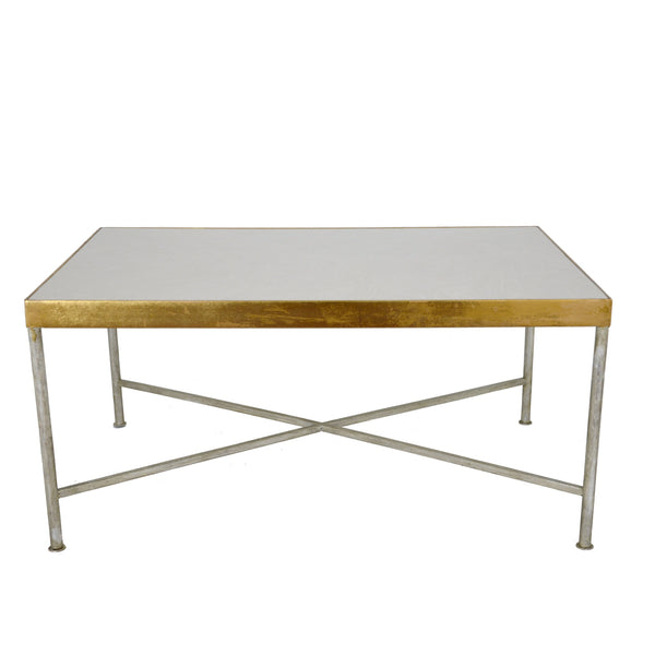 Esme Silver & Gold Stone Top Coffee Table - Lillian Home