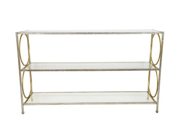 Sunny Silver and Gold Console Table with 3 Shelves