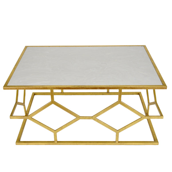 Dianna Gold Leaf Stone Top Coffee Table - Lillian Home