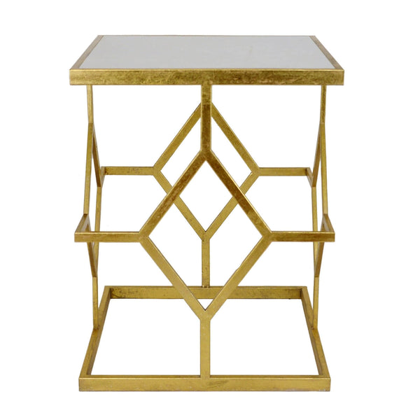 DIAMOND GOLD LEAF SIDE TABLE