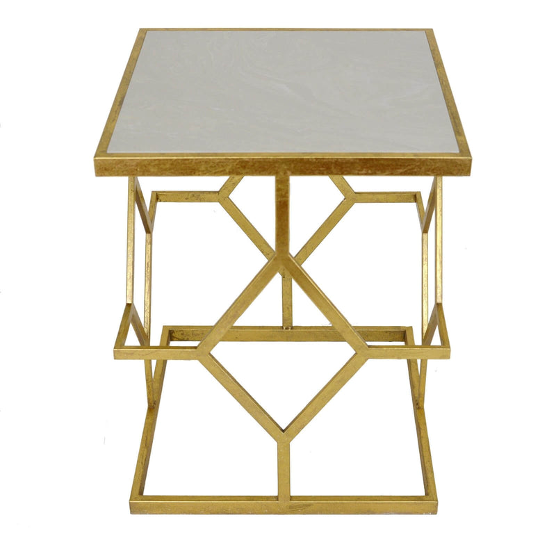 Dianna Gold Leaf Stone Top Side Table