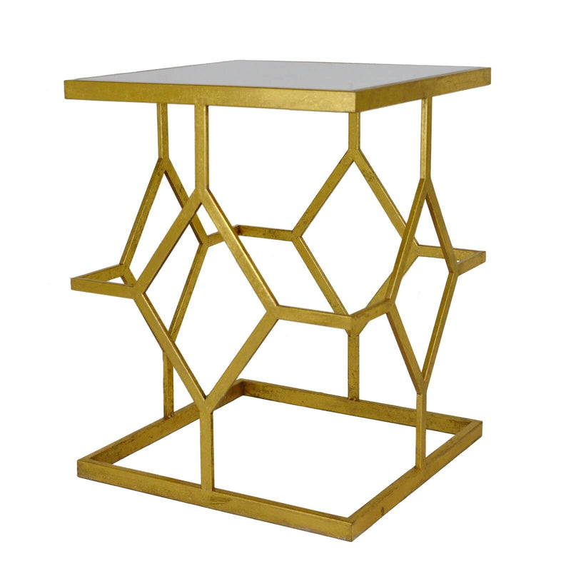 Dianna Gold Leaf Stone Top Side Table - Lillian Home