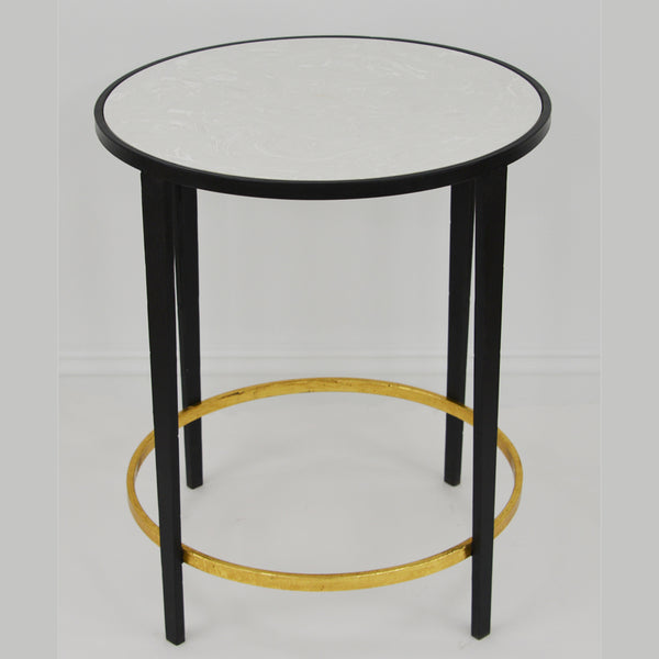 Dolly Black and Gold Round Side Table
