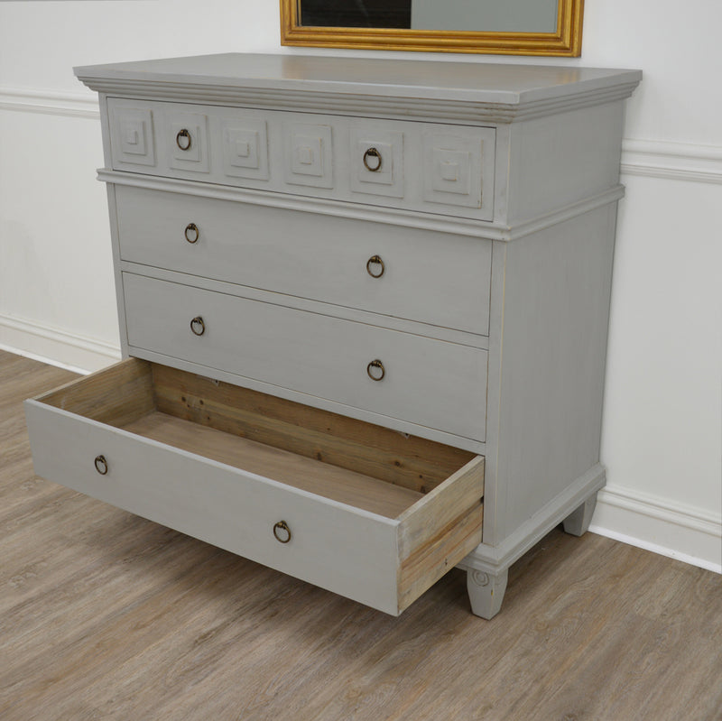 Donatella Soft Grey 4 Drawer Chest- Lillian Home