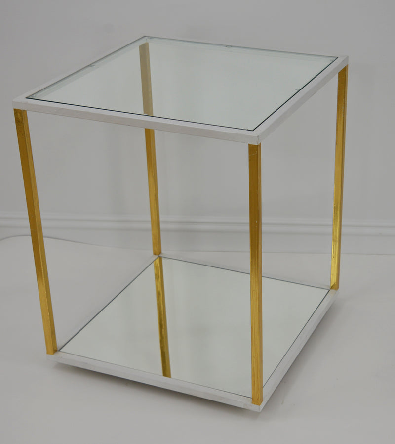 Emily White and Gold 2 Shelves Side Table