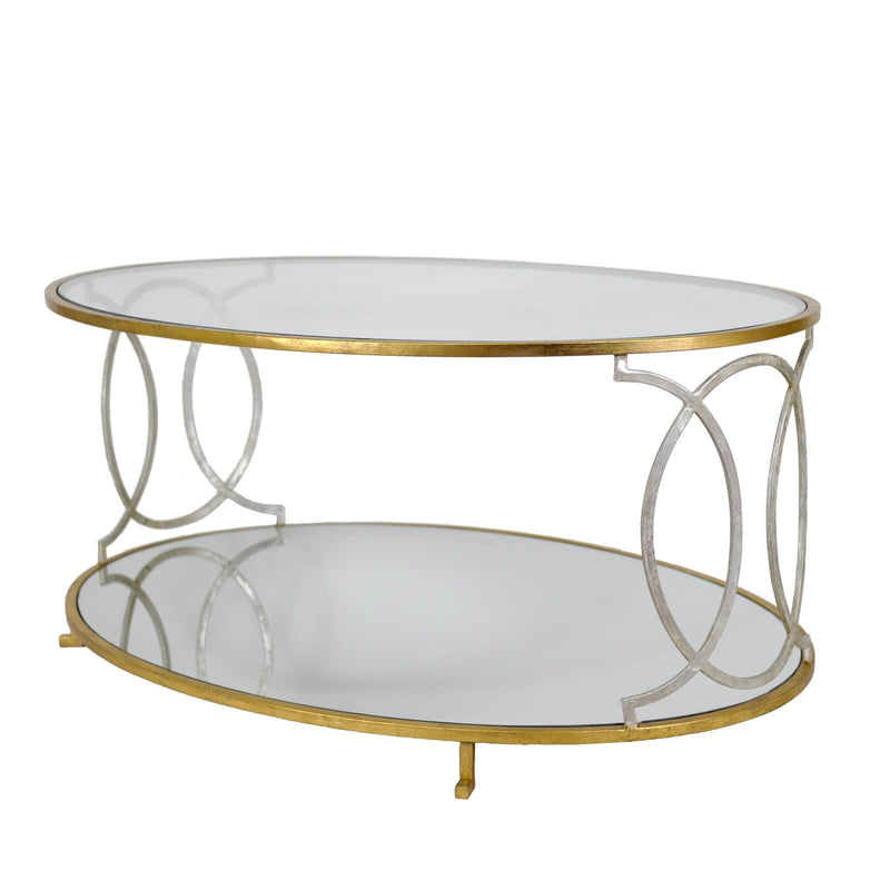 Coco Silver And Gold 2 Shelves Coffee Table Oval Gold Coffee