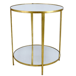Mae Gold Leaf Mirror Top 2 Shelves Side Table - Lillian Home