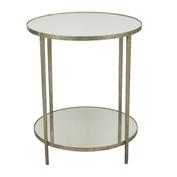 Mae Silver Leaf Mirror Top 2 Shelves Side Table - Lillian Home