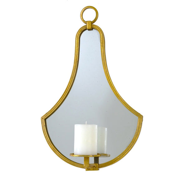 Mabel Gold Leaf Mirror Wall Candle Holder - Lillian Home