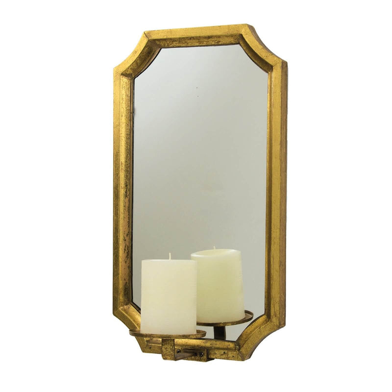 Ponnt Gold Leaf Mirror Wall Candle Holder - Lillian Home
