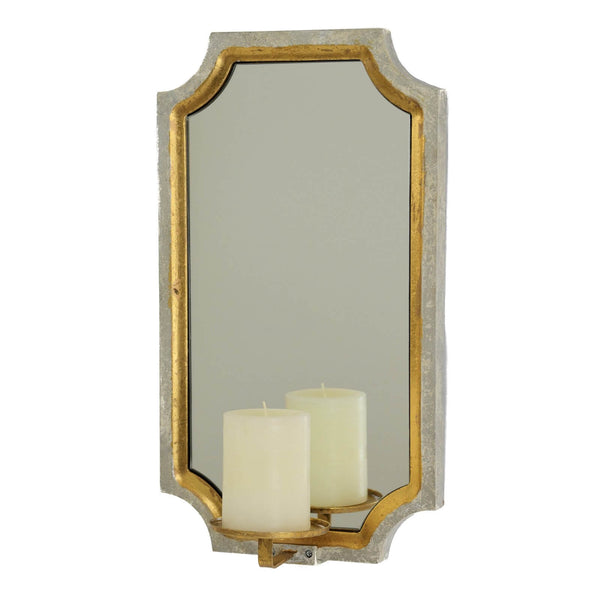 PONNT SILVER AND GOLD LEAF MIRROR CANDLE HOLDER