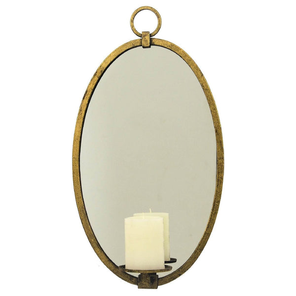 Ovala Gold Leaf Mirror Wall Candle Holder - Lillian Home