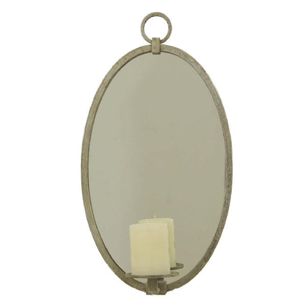 Ovala Silver Leaf Mirror Wall Candle Holder