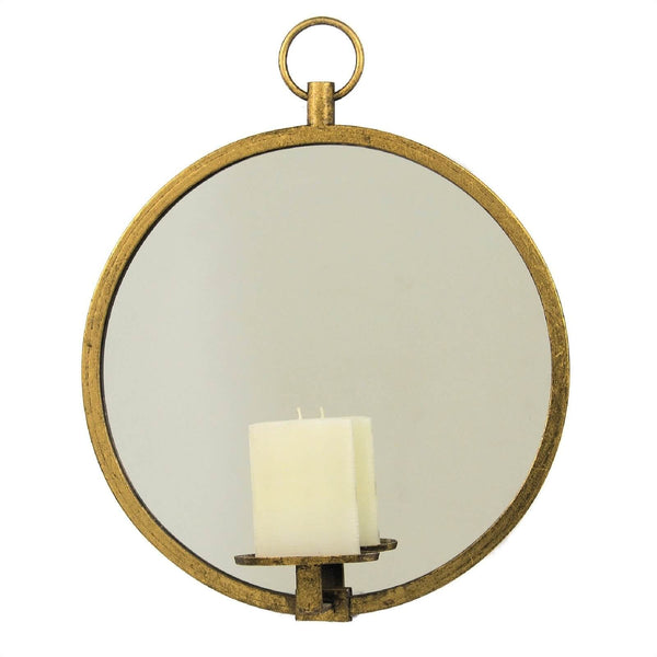 Roundy Gold Leaf Mirror Wall Candle Holder - Lillian Home