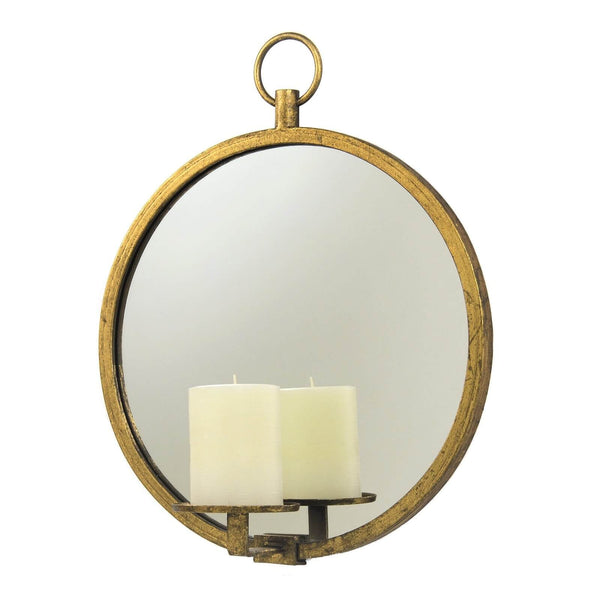 Roundy Gold Leaf Mirror Wall Candle Holder