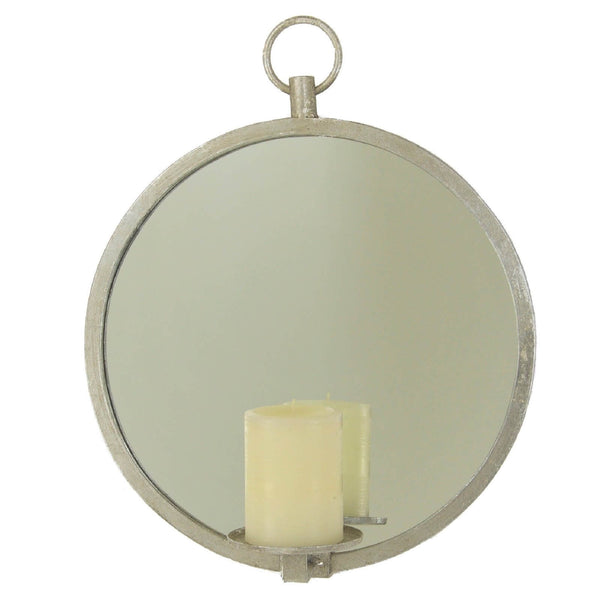 Roundy Silver Leaf Mirror Wall Candle Holder - Lillian Home