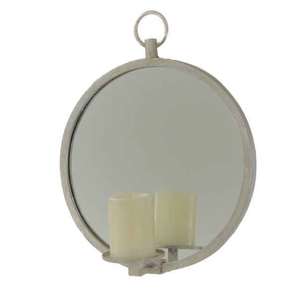 Roundy Silver Leaf Mirror Wall Candle Holder