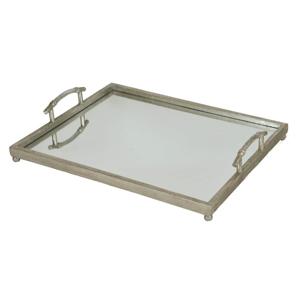 Fancy Silver Leaf Tray with Mirror Bottom