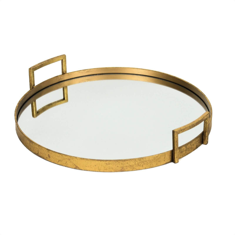 Ono Gold Leaf Round Mirror Bottom Tray