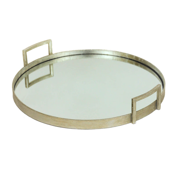 Ono Silver Leaf Round Mirror Bottom Tray