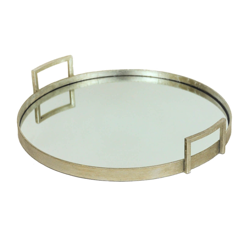 Ono Silver Round Mirrored Tray - Lillian Home