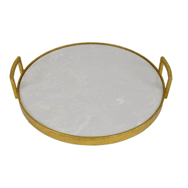 Bono Gold Leaf Tray with Stone Top