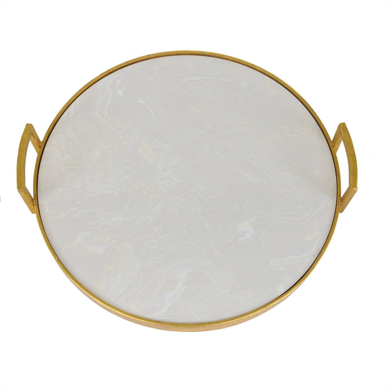 Bono Gold Leaf Tray with White Stone - Lillian Home