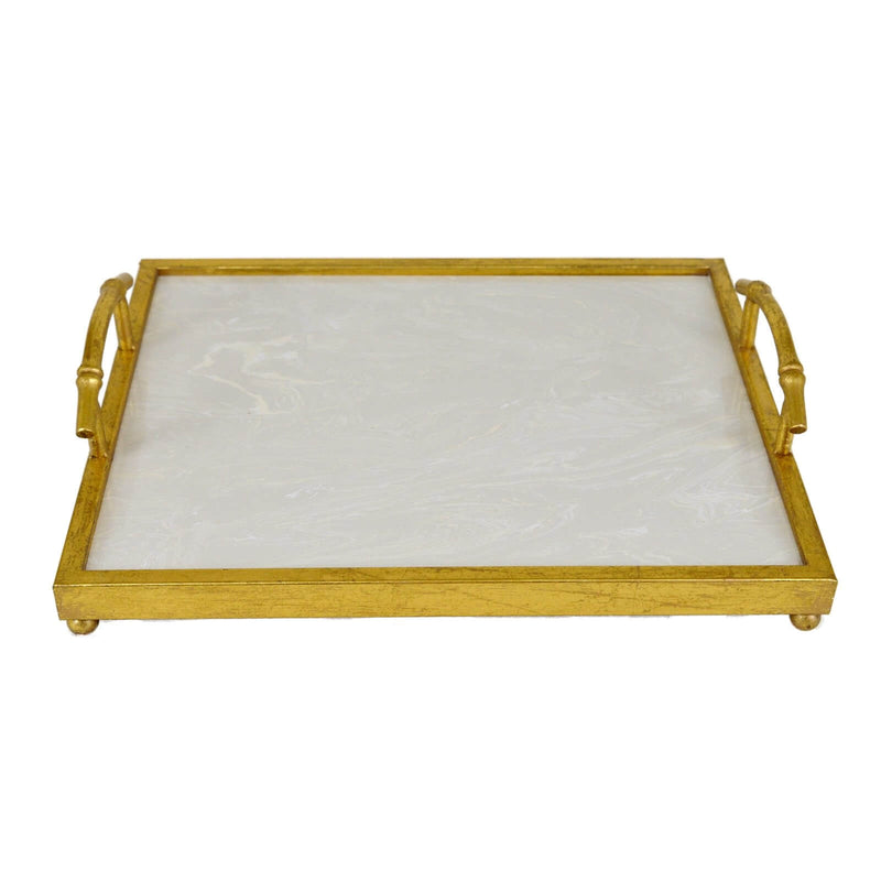 Lalana Gold Tray with White Stone - Lillian Home