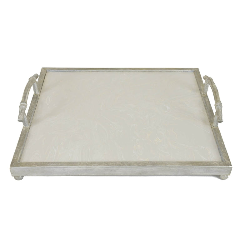 Lalana Silver Tray with White Stone - Lillian Home