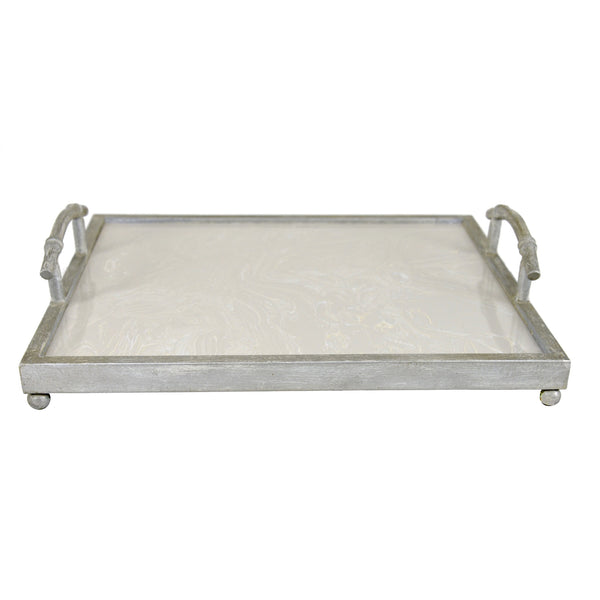 Lalana Silver Leaf Stone Top Tray
