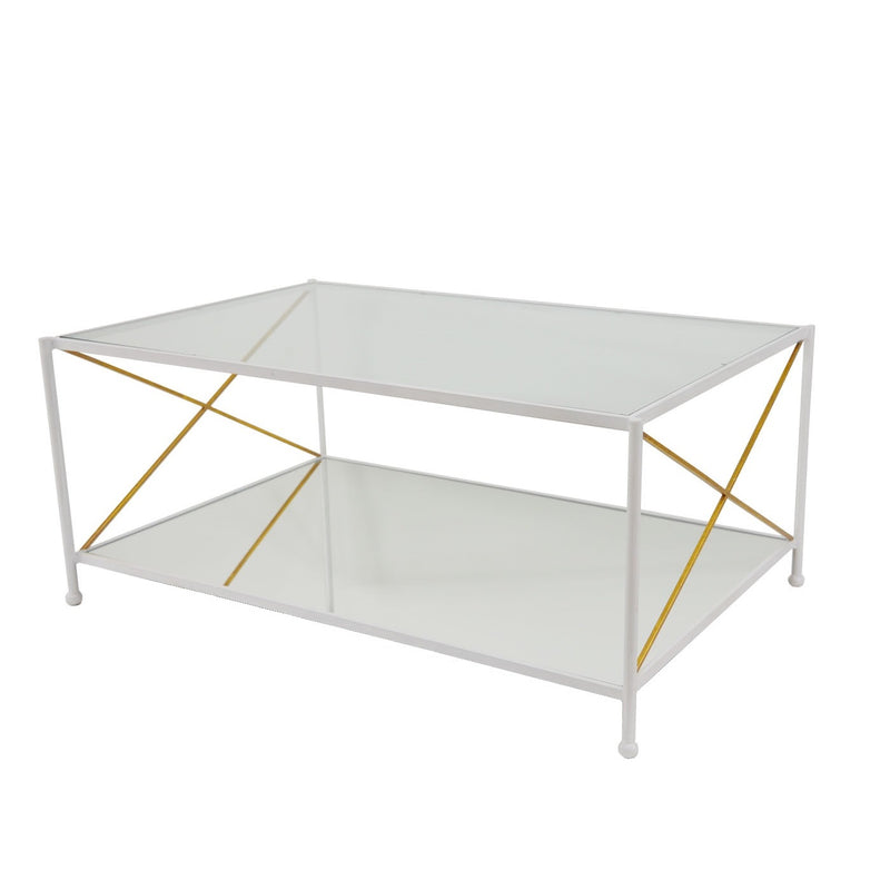 Iris White and Gold 2 Shelves Coffee Table