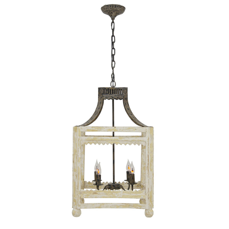 Blaire 4 Light Wood Iron Lantern - Lillian Home